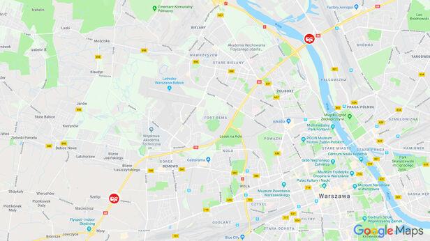 Miejsca, w których doszło do kolizji Google Maps