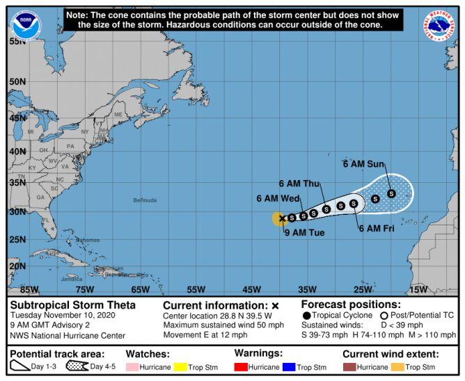 Trasa przebiegu burzy tropikalnej Theta (NHC, NOAA)