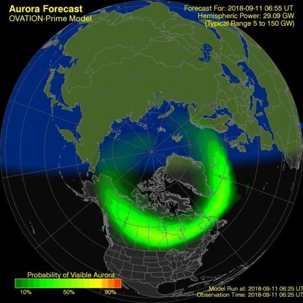 Prognoza wystąpienia zorzy polarnej dla półkuli północnej (NOAA)