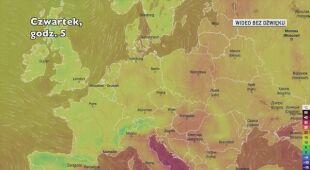 Prognozowana temperatura w Europie